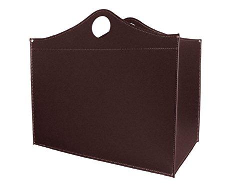 WOODBAG Small Special Kaminholzkorb aus Leder Farbe Dunkel braun Holzkorb Feuerholzkorb Brennholzkorb Exclusivdesign aus Italien
