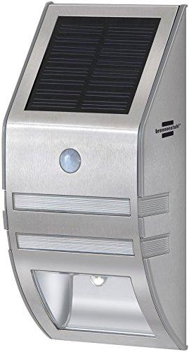 Brennenstuhl LED-Wand- und Pfostenleuchte  Außenleuchte mit Bewegungsmelder Wandleuchte außen IP44 mit 2 LEDs 30 Lumen  Akku Farbe silber