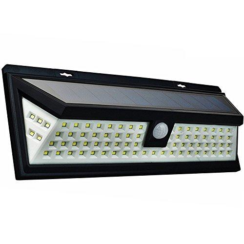 JIGUOOR Solarleuchten 80 LEDs Superhelle Solarlichter Beleuchtung Solarlampe für Garten Auffahrt Innenhof Hof Weg Wand Deck mit Bewegungsmelder Licht PIR Wireless Wasserdicht Solar Wandleuchte