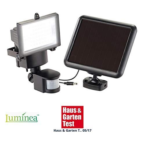 Luminea Wandfluter aussen Solar-LED-Wand-Fluter für außen mit Bewegungssensor 600 Lumen IP44 Solarlampe mit Bewegungsmelder