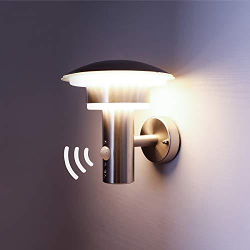 NBHANYUAN Lighting LED Außenlampe mit Bewegungsmelder und Dämmerungsschalter Aussenwandleuchten Silber Edelstahl 3000K Warmweiß Licht 220-240V 1000LM 95W IP44 mit PIR Sensor