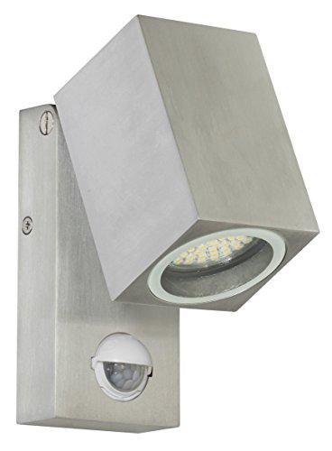 Ranex 5000486 LED Wand Außenleuchte mit Bewegungsmelder  Aluminium-Glas  grau und quadratisch  bis ca 90° ausklappbar