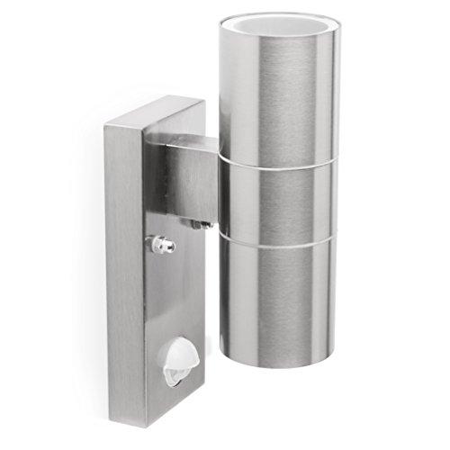 Smartwares 5000257L A to E Wandleuchte Dimaro mit Bewegungsmelder Aluminium 20 W GU10 Silber 6 5 x 11 x 23 cm