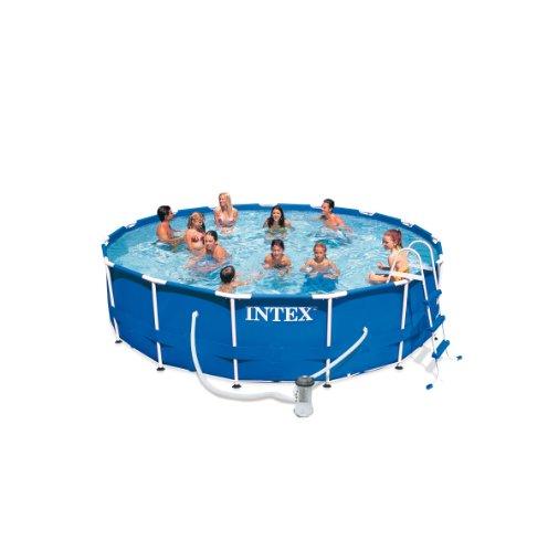 Intex Frame Pool Set Rondo III Kartuschenfilter 3800 lh Leiter Abdeckplane Bodenschutzplane 457 x 122 cm 54946