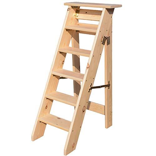 Klappbare 456-Stufen-Leiter Massivholz Treppen steigen Hocker Einseitige Trittleiter - Kapazität 120 kg Farbe  Varnish Color größe  6 Tier