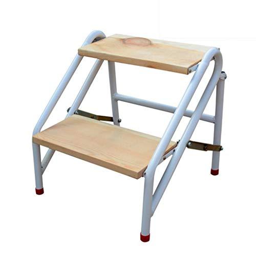 Klappbarer Trittleiter mit 2 Stufen Trittleiter für den Haushalt Haushalts-Treppenhocker Holz-Trittleiter für Kinder und Erwachsene Gartenwerkzeug aus Kohlenstoffstahl schwere Ausführung 150kg