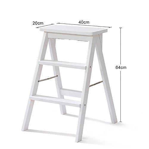 MEI XU Küche Holz Trittleiter Leiter Für Erwachsene Massivholz Klapp Trittleiter Tragbare Klapp Fußbank Multifunktions Kleine Hocker Bank  Farbe  Weiß größe  1
