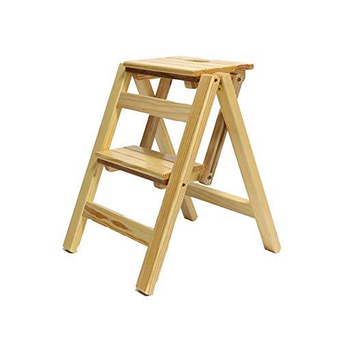 NYDZDM Falte 2 Schritte Leiter Dual-Use-Step Hocker Trittleiter-Faltbare Kiefer Holz Treppen Leiter Flower Rack Schuh Bank 38  46  50 cm Farbe  A