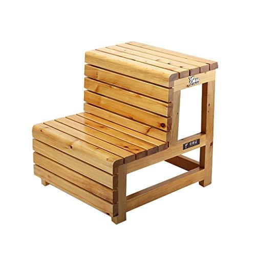 Pang Pang Trittleiter - Holz Trittleiter 2-Schicht-Pedal Wohnzimmer Küche Ersatz Schuh Klappstuhl Flip Multifunktions-Treppenleiter ~ Farbe  Brown