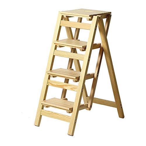 You Hao Tritthocker -4 Massivholz Trittleiter Hocker Pedal Hause Klapp Klappleiter Hocker Rutschfest Multifunktions Treppensteigen Leiter  Farbe  Beige