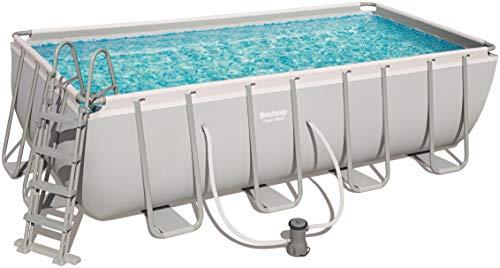 Bestway Power Steel Rectangular Frame Pool Set viereckig 488x244x122 cm Stahlrahmenpool-Set mit Filterpumpe  Zubehör grau