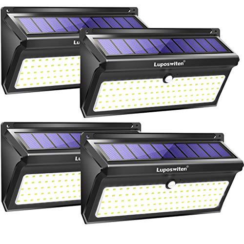 Luposwiten 100 LED Solarlampen für Außen mit Bewegungsmelder2000LM Wasserdicht Solarleuchten Aussenbeleuchtung Solarlichter für Garten Terrassen WandFlurTreppenHofEinfahrtGehwegen4Stück