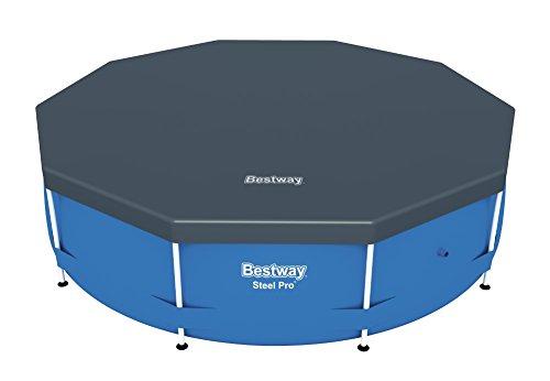 Bestway Flowclear PVC-Abdeckplane Ø305 cm für Steel Pro Pool und Steel Pro Max Pool Ø 305 cm grau