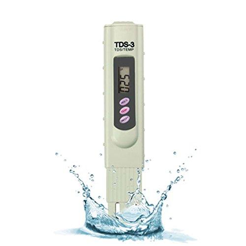 TDS-3 Wasserqualität Tester Digital TDS Meter Set3-in-1 Neueste Version Premium Handheld TDS Qualität Wasser Testgerät Messgerät  Schützender Koffer 0 - 9990 ppm TDS Messung Beige für Schwimmbäder