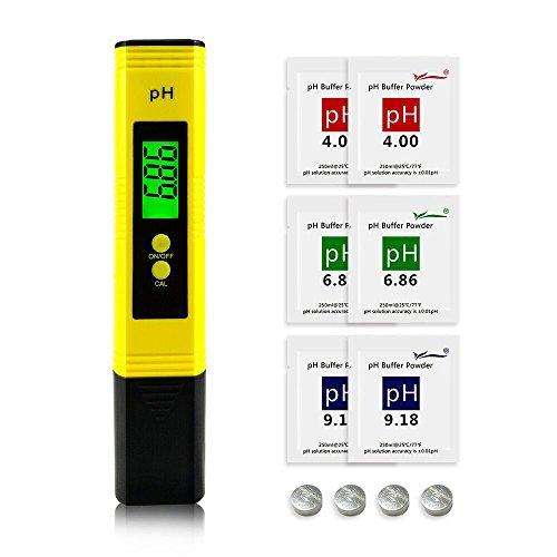Easy_Way PH Messgerät PH Wert Messgerät Digital PH Meter ATC Funktion 001 pH Hohe Genauigkeit Wasserqualität Tester mit 0-14 PH Messbereich für Haushalt Trinkwasser Hydroponic Aquarium Gelb
