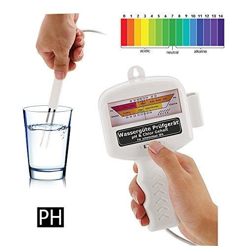 Ultrey Wassertester Chlor PH Wert Messgerät Elektronischer Wasserqualität Tester für Pool Teich Aquarium Schwimmbad Trinkwasser