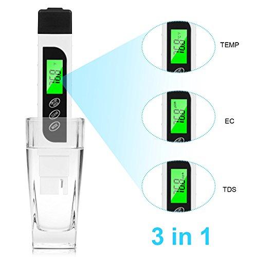 YLANK Wasserqualität Tester TDS Meter Digital EC Messgerät und Temperatur Meter 3 in 1 akkurate Bereich 0-9990ppmTest Meter für Trinkwasser Aquarien Etc