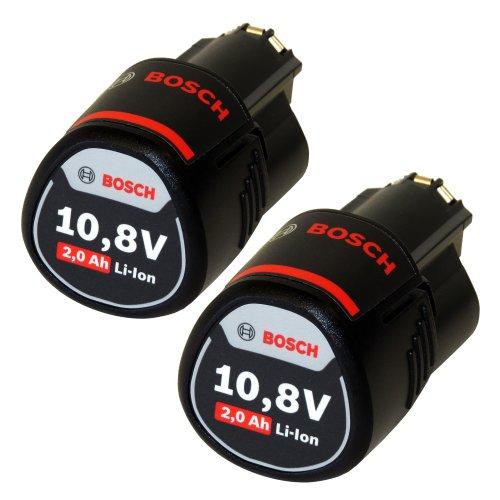 2 x Bosch 108V 2 Ah  2000 mAh Lithium-Ion Professional Akku 2607336879