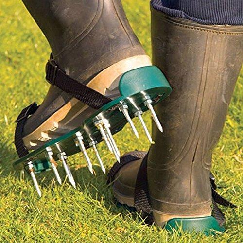 Garden Mile Garten Rasen Lüfter Schuhe Manuel RASEN BELÜFTER MIT 13x 5cm Zacken und Riemen universal für Rasen Lüfter Sandalen