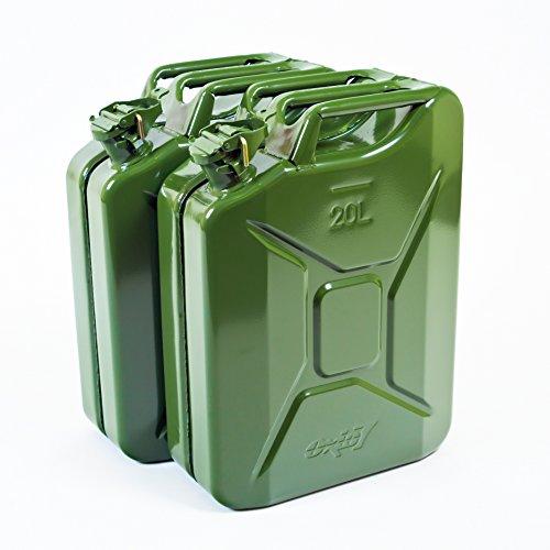 2x Oxid7 Benzinkanister Kraftstoffkanister Metall 20 Liter Olivgrün mit UN-Zulassung - TÜV Rheinland Zertifiziert - Bauart geprüft