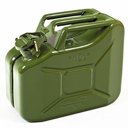 Oxid7 Benzinkanister Kraftstoffkanister Metall 10 Liter Olivgrün mit UN-Zulassung - TÜV Rheinland Zertifiziert - Bauart geprüft - für Benzin und Diesel