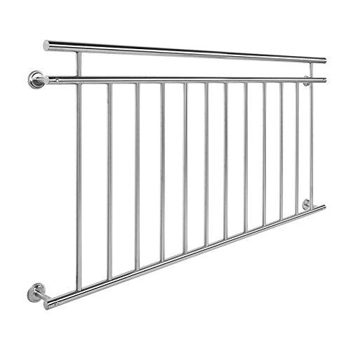 Wiltec Balkongeländer Edelstahl 90x156cm Französischer Balkon Stabgeländer