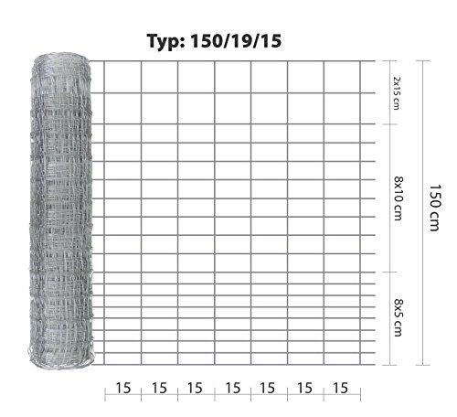 Wildzaun Eider 1501915 50 m lang stabiler verzinkter Drahtzaun in der Höhe 150 cm