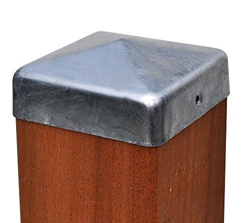 Pfostenkappe feuerverzinkt Pyramide für Pfosten 7x7 cm inkl VA-Schrauben Zaunkappe Pfahlkappe verzinkt 71x71 mm DD