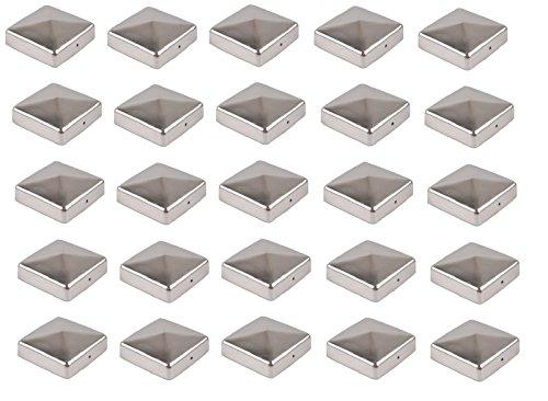 Baumarktplus 25x Pfostenkappe Edelstahl 101 mm Pyramide Abdeckkappe für Pfosten 10 x 10 cm