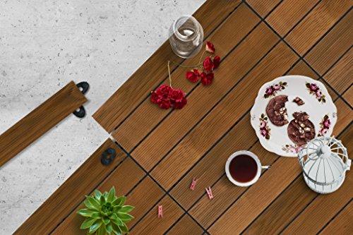 Premium Gumi Wood Decking Terrassendielen Bodenbelag Garten Balkon Thermoesche Stecksystem mit Unterkonstruktion