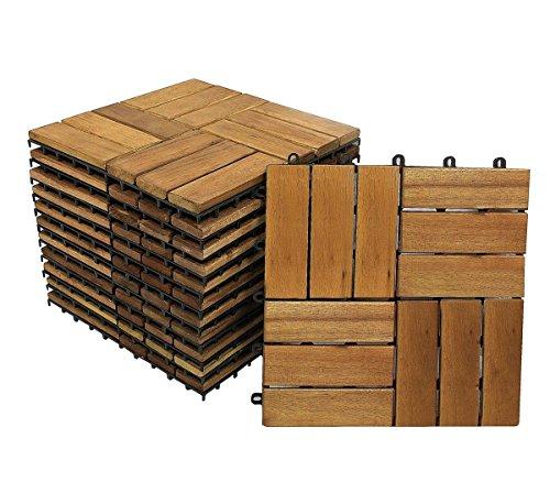 SAM Terrassen- Klickfliese 01 Holz- Akazie 33 Fliesen für 3 m² 30x30cm FSC 100 Garten Bodenbelag mit Drainage