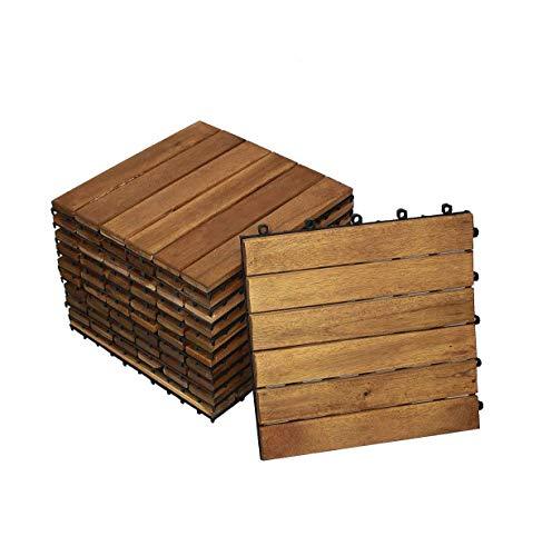 SAM Terrassen- Klickfliesen 01 Akazienholz geölt 22 Fliesen für 2m² 30x30cm FSC 100 Garten Bodenbelag Drainage