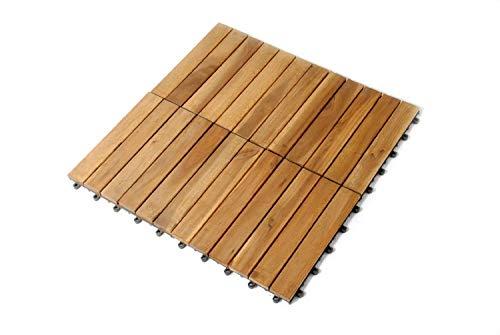 SAM Terrassenfliese 01 Akazien-Holz Einzelfliese FSC 100 Zertifiziert Bodenbelag mit Drainage Unterkonstruktion klick-Fliese Garten Balkon