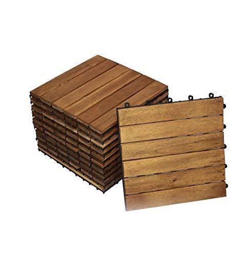 SAM Terrassenfliese 01 Akazienholz 11 Klick-Fliesen für 1m² 30x30cm FSC 100 Garten- Bodenbelag mit Drainage