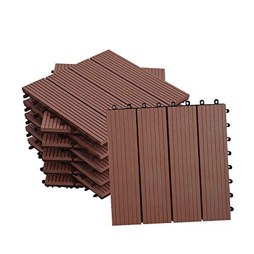 MCTECH Fliesen WPC Kunststoff 30x30cm - Terrassenfliesen Balkonfliesen Klickfliese in Holz Optik Braun 11 Stück fur 1m² Braun