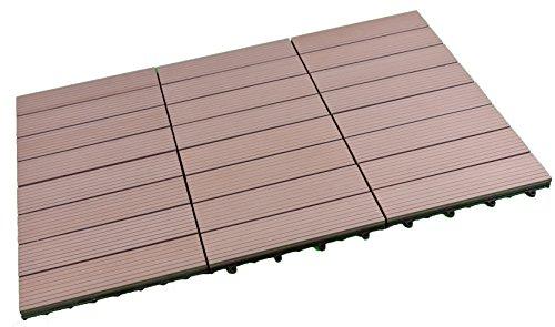 SORARA WPC Terrassen Fliesen  30 x 30 cm  6 TeileStück im Set 054m2  Braun Kunststoff  klick-Fliesen  Garten-Fliese
