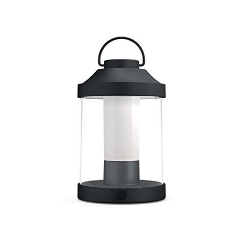 Philips myGarden LED Laterne Abelia warmweißes Licht dimmbar inkl USB Anschluss schwarz für Balkon und Terrasse