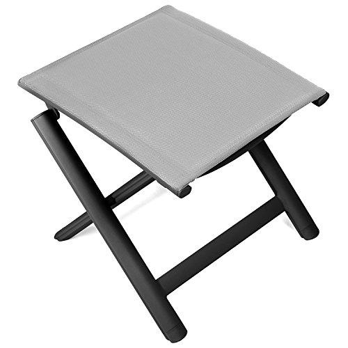 Vanage Alu Hocker in grau - klappbarer Fußhocker - Klapphocker - Sitzhocker - Klappstuhl für Camping Garten Terrasse und Balkon geeignet