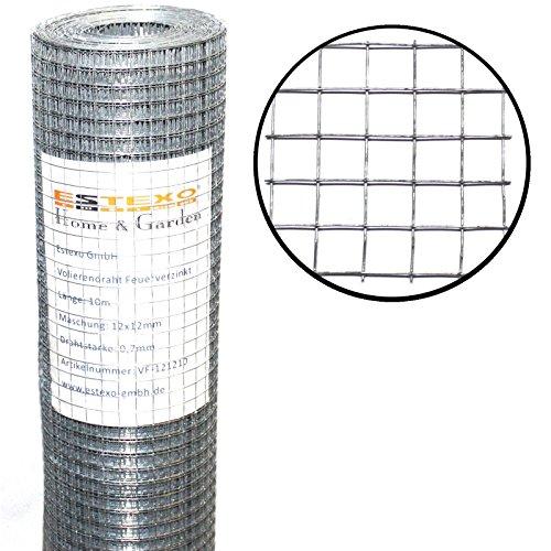 Estexo Volierendraht 1m x 10m 12x12mm Drahtgitter 4-Eck Maschendraht Schweißgitter Zaun