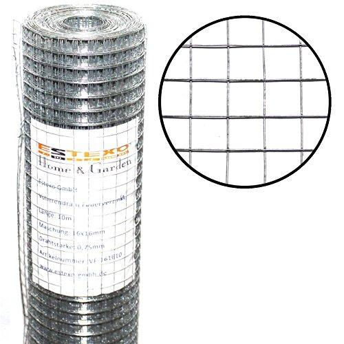 Estexo Volierendraht 1m x 10m 16x16mm Drahtgitter 4-Eck Maschendraht Schweißgitter Zaun