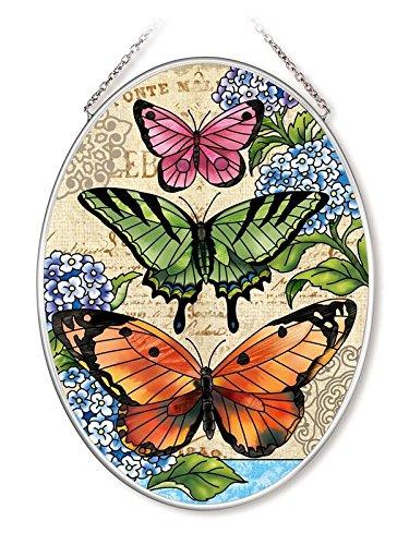 Amia Jute Schmetterlinge Glas Oval Sonnenfänger bunten