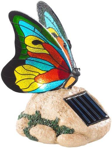 Lunartec Solar Deko Solar-LED-Schmetterling mit Echtglas-Mosaik-Flügeln Solar-Dekos