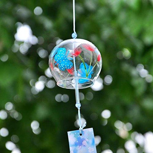 Sharplace 2pcs Hängend Glas Windspiel Glocke Feng Shui Garten Haus Deko Japan Stil - Schmetterling Blumenmuster