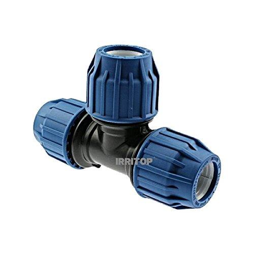 PP-Klemmverbinder 90° T-Stück - PE Rohre Klemmfitting Verschraubung PE-Bewässerungsrohr - DVGW mit Trinkwasserzulassung Größe20 mm x 20 mm x 20 mm