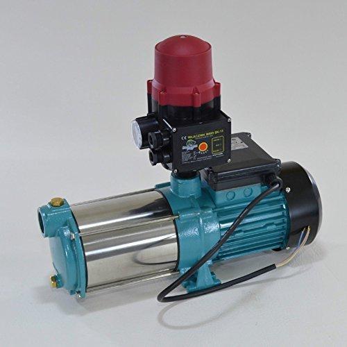 INOX Kreiselpumpe Hauswasserwerk Gartenpumpe MHI1300 Watt Förderleistung 6000 Lh 55 bar robuste und rostfreie Edelstahlwelle integrierter thermischer Motorschutzschalter  Trockenlaufschutz  Rückschlagventil