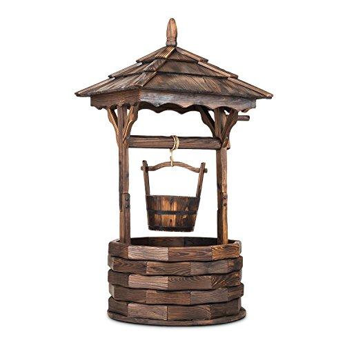 blumfeldt Loreley • Deko-Brunnen • Garten Dekoration • Gartenbrunnen • Höhe 135 cm • Material Tannenholz • Brandbehandlung zum Schutz gegen Witterung • künstlicher Alterungseffekt • braun