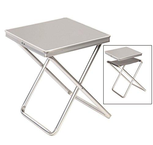 3 in 1 Hocker Beistelltisch und Tablett Tischplatte 40x40cm als Servier-Tablett nutzbar multifunktional Sitz klappbar LxBxH 40x40x46cm Material Alu leicht Outdoor 60101031