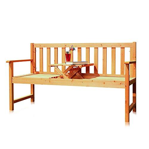 Melko Gartenbank mit integriertem Klapptisch 1525 x 90 x 56 cm braun Parkbank Sitzgarnitur Tablett Tisch