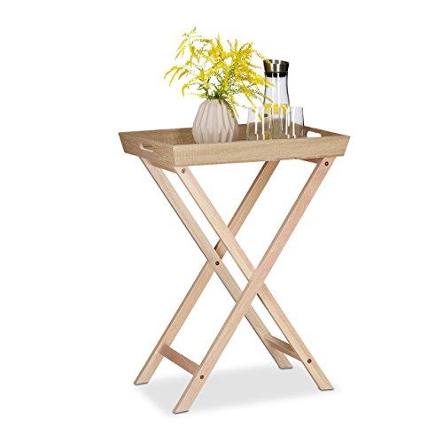 Relaxdays Tabletttisch Holz Klapptisch abnehmbar Beistelltisch Couch HxBxT 775x565x385 cm natur