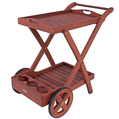 Unbekannt Hochwertiger Tee Wagen Beistell Tisch Ablage Rollen Tablett Eukalyptus FSC geölt Harms 980087